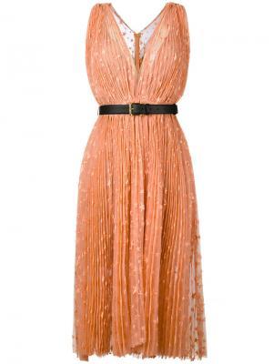 Платье с вышивкой звезд Maria Lucia Hohan. Цвет: жёлтый и оранжевый