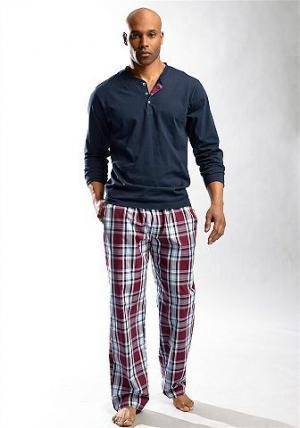 Длинная пижама, H.I.S. Цвет: синий морской с бордовым