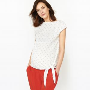Блузка из хлопка для периода беременности R essentiel. Цвет: белый/ синий