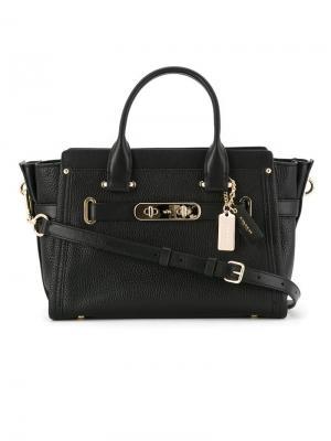 Маленькая сумка-тоут Swagger 27 Coach. Цвет: чёрный