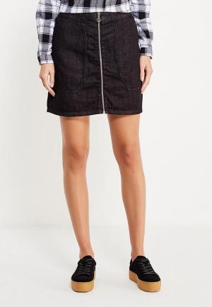 Юбка джинсовая Piazza Italia. Цвет: черный