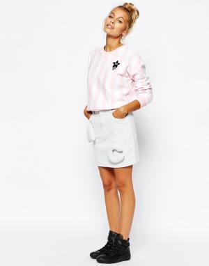 Mini Cream Стеганая джинсовая юбка