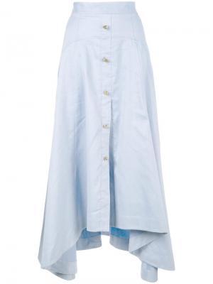 Асимметричная юбка на пуговицах спереди Peter Pilotto. Цвет: синий