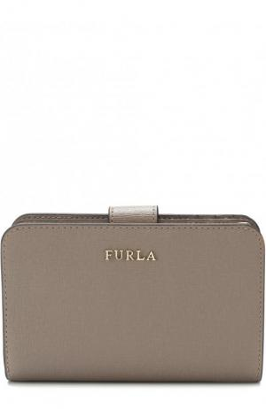 Кожаный кошелек с логотипом бренда Furla. Цвет: серый