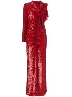 Платье с оборкой и отделкой пайетками Ashish. Цвет: красный