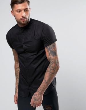 SikSilk Обтягивающая рубашка с трикотажными рукавами. Цвет: черный