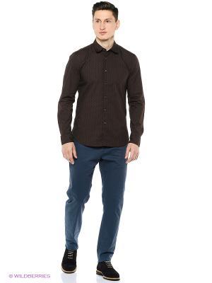 Рубашка United Colors of Benetton. Цвет: антрацитовый, темно-коричневый
