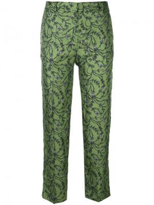 Укороченные брюки с цветочным принтом Christian Wijnants. Цвет: зелёный