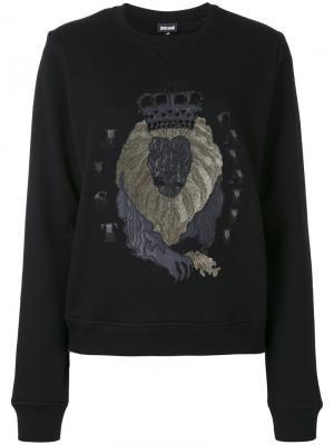 Толстовка с рисунком льва Just Cavalli. Цвет: чёрный