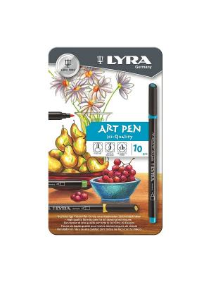 LYRA Hi-Quality Art Pen,  Набор фломастеров металл коробка 10шт. Цвет: белый, коричневый, черный