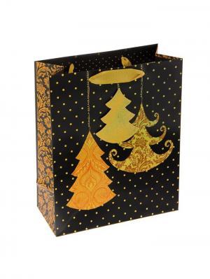 Пакет подарочный Новогодняя ярмарка. Цвет: черный, золотистый