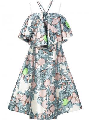 Платье с оборками и узором Vika Gazinskaya. Цвет: белый