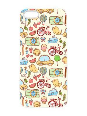 Чехол для iPhone 5/5s Детский принт Арт. IP5-041 Chocopony. Цвет: светло-бежевый, бледно-розовый, желтый, зеленый, голубой