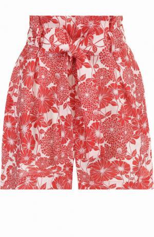 Льняные мини-шорты с поясом и принтом Lisa Marie Fernandez. Цвет: красный