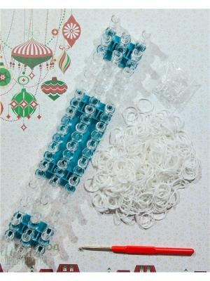Набор резинок для плетения 200 крючок большой станок S-зажимы Loom Bands. Цвет: белый