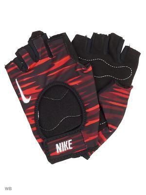 Женские перчатки для фитнеса Nike. Цвет: красный, белый, черный