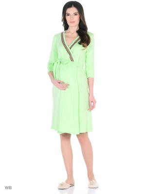Халат женский для беременных FEST. Цвет: светло-зеленый, коричневый