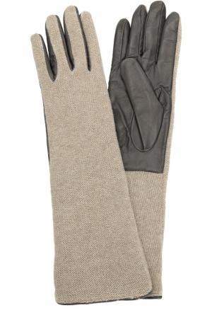 Кожаные перчатки с отделкой из вязаного полотна Sermoneta Gloves. Цвет: серый