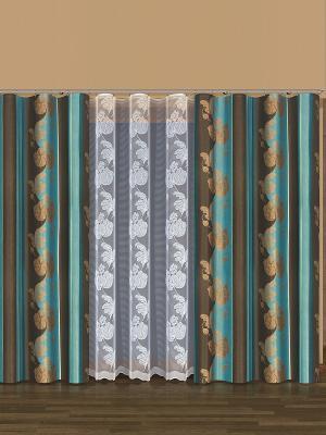 Комплект штор Haft. Цвет: бирюзовый, коричневый, белый