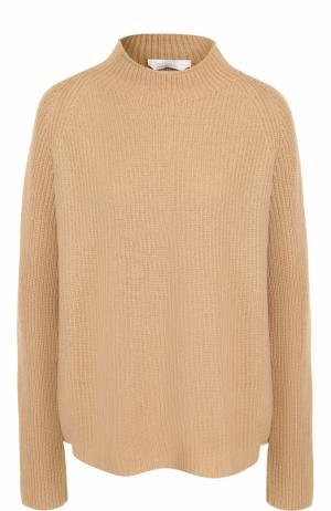 Шерстяной свитер фактурной вязки BOSS. Цвет: бежевый
