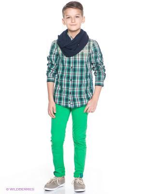 Рубашка Orby. Цвет: зеленый, светло-серый, темно-синий