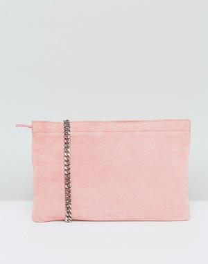 Vagabond Розовая замшевая сумка с ремешком-цепочкой через плечо. Цвет: розовый