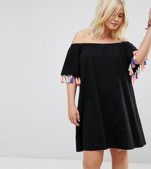 ASOS Curve Летнее платье с открытыми плечами и разноцветными кисточками CURV. Цвет: черный