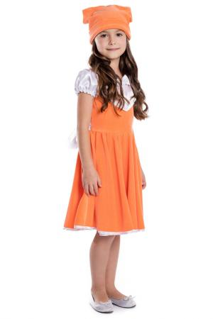 Платье PlayToday. Цвет: белый, оранжевый