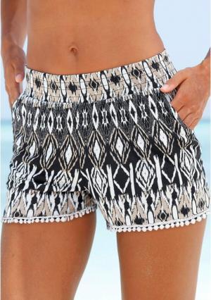 Пляжные шорты Lascana. Цвет: с рисунком, черный