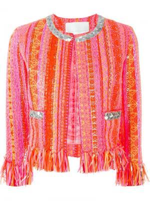 Тканый укороченный пиджак Giada Benincasa. Цвет: многоцветный
