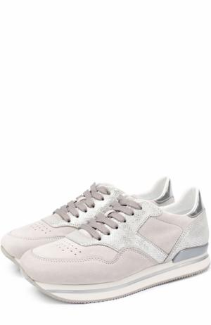 Замшевые кроссовки с металлизированной отделкой Hogan. Цвет: серый