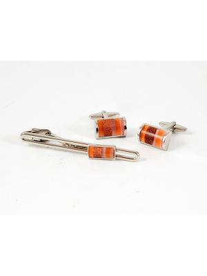 Подарочный набор LA GEER: заколка для галстука, запонки GEER. Цвет: серебристый, оранжевый