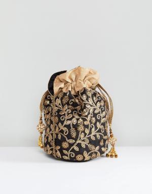 Park Lane Маленькая сумка ручной работы с вышивкой и затягивающимся шнурком. Цвет: черный