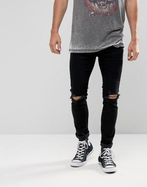 Rollas Черные джинсы с рваной отделкой Stinger. Цвет: черный