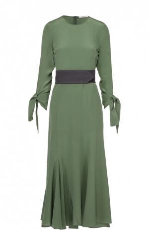 Шелковое платье-макси с бантами и контрастным поясом Dorothee Schumacher. Цвет: зеленый
