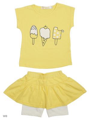 Юбка-шорты, футболка HLT. Цвет: желтый, белый