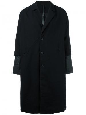 Пальто-кокон с многослойными рукавами Barbara I Gongini. Цвет: чёрный