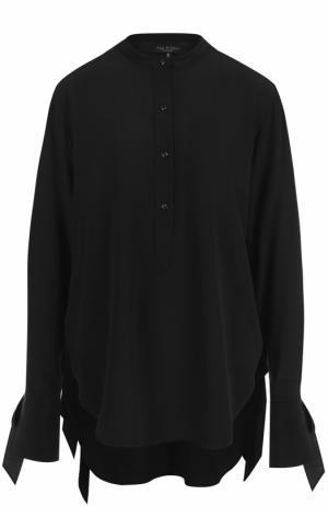 Шелковая блуза с бантами на рукавах Rag&Bone. Цвет: черный