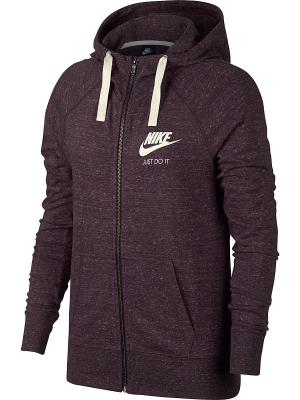 Толстовка W NSW GYM VNTG HOODIE FZ Nike. Цвет: бордовый