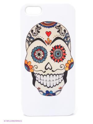 Чехол для IPhone 5 Мексиканский череп Mitya Veselkov. Цвет: белый, синий, красный