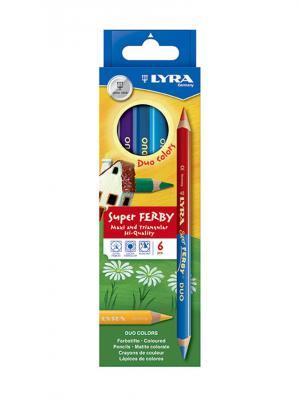 Lyra superferby duo bicolor 6 цв, двусторонние цвет. карандаши, утолщ.. Цвет: желтый, зеленый, синий