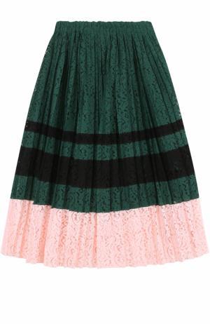 Кружевная плиссированная юбка-миди No. 21. Цвет: зеленый