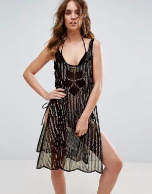 ASOS Пляжное платье с пайетками. Цвет: золотой