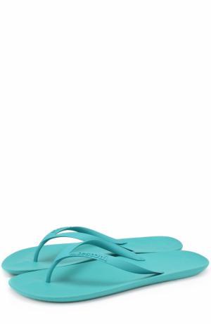 Резиновые шлепанцы с тиснением A. Testoni. Цвет: голубой