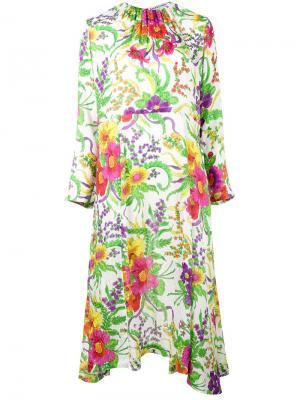 Платье с цветочным рисунком Balenciaga. Цвет: белый