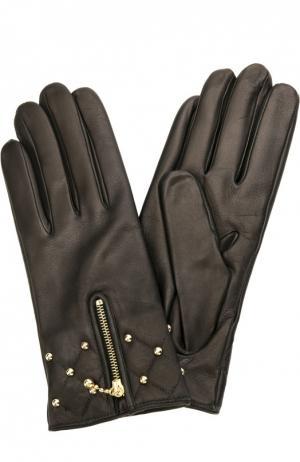 Кожаные перчатки с молниями и заклепками Sermoneta Gloves. Цвет: черный