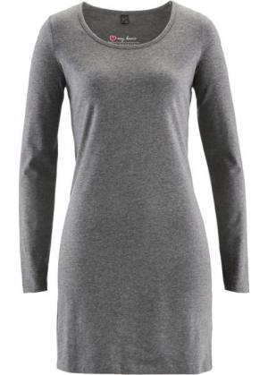 Трикотажное платье стретч с длинным рукавом (серый меланж) bonprix. Цвет: серый меланж