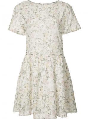 Расклешенное платье с цветочным принтом Anine Bing. Цвет: белый