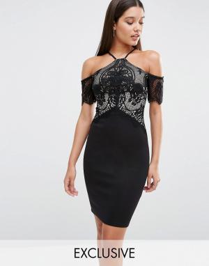 Lipsy Облегающее платье. Цвет: черный