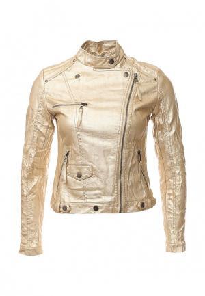 Куртка кожаная Softy. Цвет: золотой